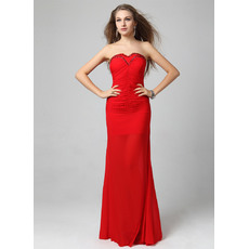 Elegant Red Chiffon Column/ Sheath Sweetheart Floor Length Formal Evening Dresses