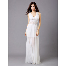 Inexpensive Lace Chiffon V-Neck Sheath Floor Length Evening Dresses