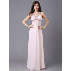 Sexy Column/ Sheath Chiffon Straps Floor Length Evening Dresses
