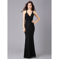 Fabulous Sheath/ Column V-Neck Chiffon Floor Length Formal Evening Dresses