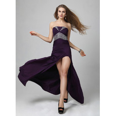 Sexy Sheath/ Column Satin Strapless Floor Length Formal Evening Dresses