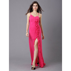 Popular Column/ Sheath Spaghetti Straps Chiffon Floor Length Evening Dresses