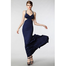 Excellent Sheath/ Column Straps Satin Floor Length Evening Dresses