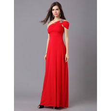 Classic Sheath/ Column One Shoulder Chiffon Floor Length Evening Dresses