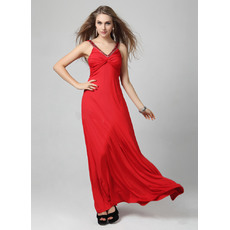 Concise Sexy V-Neck Satin Sheath Floor Length Formal Evening Dresses