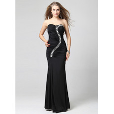 Elegant Sheath Sweetheart Floor Length Satin Black Formal Evening Dresses