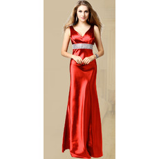 Discount Sheath/ Column V-Neck Taffeta Floor Length Evening Dresses