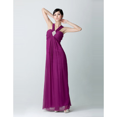 Inexpensive Empire V-Neck Chiffon Floor Length Evening Dresses