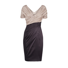 Inexpensive Sheath Pleated Short Sleeves V-Neck Short Mother of the Bride/ Groom Dresses