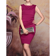 Formal Column/ Sheath Bateau Satin Short Mother of the Bride/ Groom Dresses