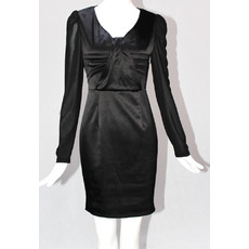 ELegant Column/ Sheath V-Neck Black Long Sleeves Short Mother of the Bride/ Groom Dresses