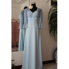 Charming A-Line Lace V-Neck Chiffon 3/4 Long Sleeves Floor Length Mother of the Bride/ Groom Dresses with Sleeves