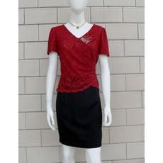 Morden Column/ Sheath Lace Short Sleeves Short V-Neck Mother of the Bride/ Groom Dresses