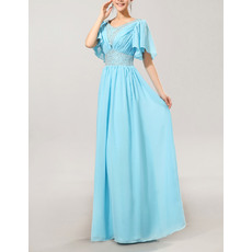 Excellent Column/ Sheath Cap Sleeves Chiffon V-Neck Floor Length Mother of the Bride/ Groom Dresses
