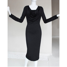 Beautiful Column/ Sheath V-Neck Long Sleeves Tea Length Sheath Satin Mother of the Bride/ Groom Dresses
