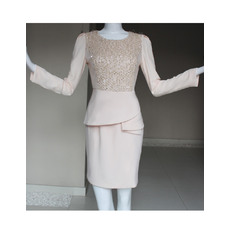 Stylish Beaded Sheath Knee Length Chiffon Mother of the Bride/ Groom Dresses with Long Sleeves