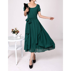 Sweet A-Line Chiffon Short Sleeves Tea Length Mother of the Bride/ Groom Dresses