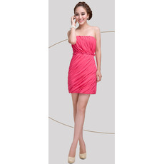 Inexpensive Column Strapless Short Chiffon Homecoming/ Graduation Dresses