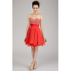 Morden A-Line Sweetheart Short Chiffon Beaded Homecoming Dresses