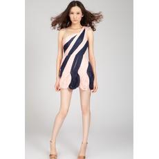 Sexy Column/ Sheath One Shoulder Mini/ Short Pleated Chiffon Column Homecoming Dresses
