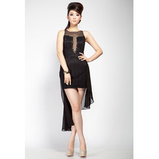 Fashionable Sheath Bateau Taffeta Organza Mini/ Short Black Homecoming Dresses
