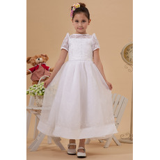 Custom Classic A-Line Crew Neck Short Puff Sleeves Satin Organza Ankle Length Embroidery Beaded White First Communion Dresses