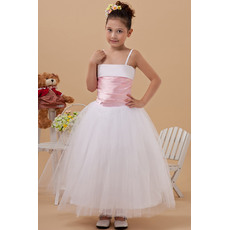 Inexpensive Simple Ball Gown Spaghetti Straps Tulle Ankle Length Flower Girl Dresses with Pleated Waist
