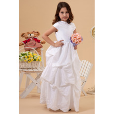 Chic Cute A-Line Crew Neck Cap Sleeves Pick-up Taffeta Flull Length White First Communion with Embroidery Beaded Dresses