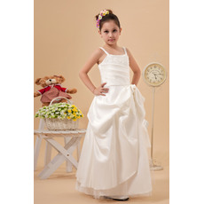 Pretty Fashionable A-Line Spaghetti Straps Satin Tulle Full Length Pick-up Ivory First Communion Dresses with Beaded Appliques