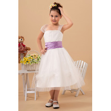 Affordable Discount A-line Square Tea Length Tulle Flower Girl Dress with Sashes