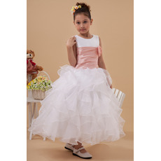 Amazing Pretty A-Line Round/ Scoop Ruffled Tiered Skirt Tea Length Satin Organza Flower Girl Dresses