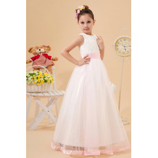 Discount Luxury Beaded Appliques Ball Gown Bateau Neck Satin Tulle Ankle Length White First Communion Dresses