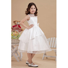 Cute Simple Ball Gown Bateau Neck Knee Length Taffeta Organza First Communion Dresses with Layered Draped High-Low Skirt