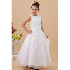 Discount A-line Round Ankle Length Lace Organza White First Communion Dresses with Petal Detailing