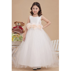 Discount Ball Gown Round Neck Satin Empire Ankle Length Tulle Flower Girl Dress with 3D Flowers