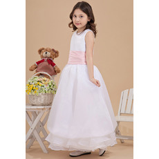 Discount Simple A-Line Round Neck Ankle Length Satin Organza White Plus Size Flower Girl Dresses