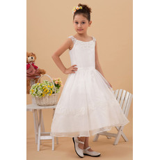 Dsicount Newest Round/ Scoop Tea Length A-Line Satin Organza First Communion Dresses