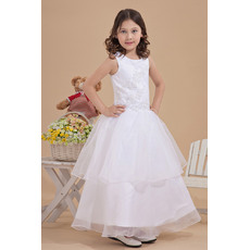 Pretty Beaded Appliques Ball Gown Round/ Scoop Ankle Length Layered Skirt Organza White First Communion Dresses