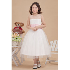 Inexpensive Simple Ball Gown Round/ Scoop Tea Length Satin Tulle Flower Girl Party Dresses with Sashes