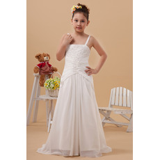 Amazing Column/ Sheath Spaghetti Straps Chiffon Floor Length Sweep Train Sheath/ Column First Communion Dresses with Applique Be