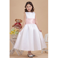 Concise Discount Ball Gown Bateau Satin Tea Length Ball Gown White Flower Girl Dresses with Sash with Sashes