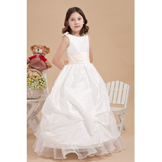 Fashionable Ball Gown Round/ Scoop Pick-Up Ankle Length Taffeta Organza First Communion Dresses with Sash and Bow