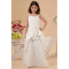 Fashionable Ruching A-Line Wide Straps Full Length Pick-up Satin Tulle Flower Girl First Communion Dresses