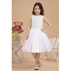 Pretty Luxury Beaded Appliques Bodice Knee Length Taffeta First Communion Flower Girl Dresses with Bubble Skirt