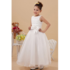 Inexpensive Pleated Ball Gown Bateau Satin Organza Ankle Length First Communion Dresses/ Chic Flower Girl Dresses with Bow
