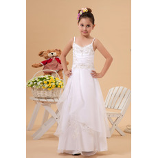 Fashionable Luxury Beaded Appliques A-Line Spaghetti Straps Organza Full Length White First Communion Dresses