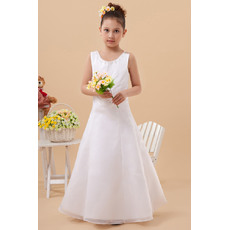Fashionable A-Line Round/ Scoop Organza Satin Button Floor Length Flower Girl First Communion Dresses