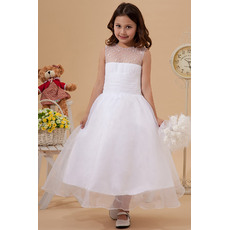 Custom Beaded A-Line Bateau Satin Organza Tea Length White First Communion Dresses