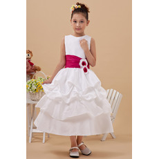 Cute A-Line Bateau Neckline Tea Length Satin Plus Size First Communion Flower Girl Dresses with Pick-up Skirt