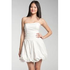 Sexy A-line Strapless Taffeta Mini/ Short Beach Wedding Dresses for Summer